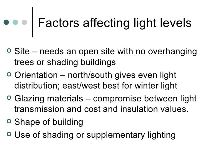 Factors affecting light levels <ul><li>Site – needs an open site with no overhanging trees or shading buildings </li></ul>...