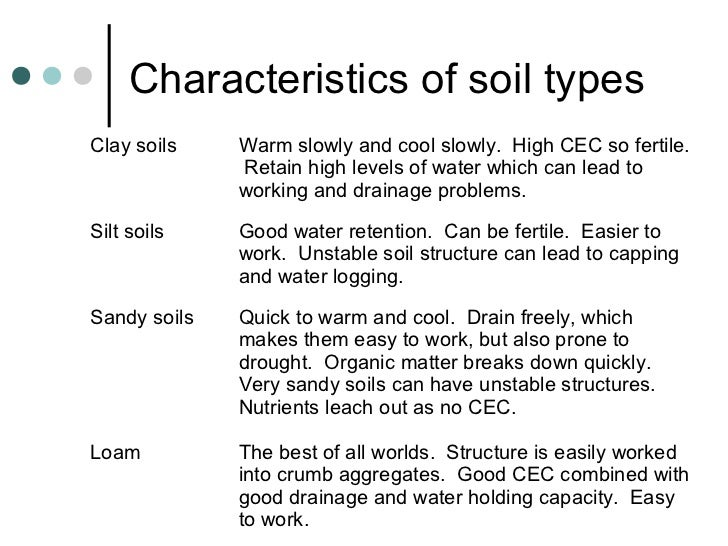Rhs year 2 week 2 presentation 2012 for Different types of soil and their characteristics