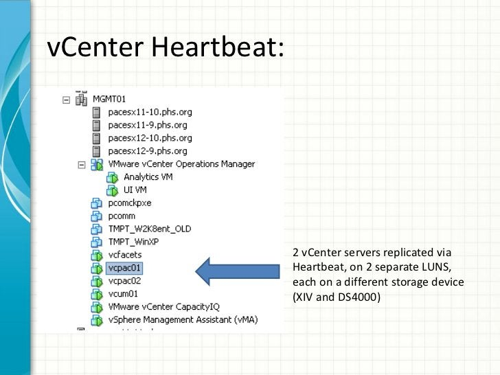 vCenter Heartbeat:                     2 vCenter servers replicated via                     Heartbeat, on 2 separate LUNS,...