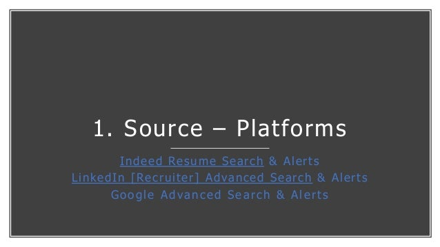 1. Source – Platforms Indeed Resume Search & Alerts LinkedIn [Recruiter] Advanced Search & Alerts Google Advanced Search &...