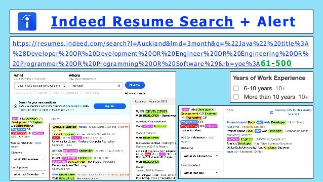 Indeed Resume Search + Alert https://resumes.indeed.com/search?l=Auckland&lmd=3month&q=%22Java%22%20title%3A %28Developer%...
