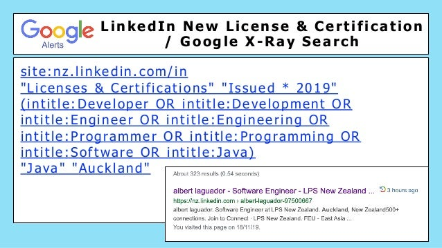 """LinkedIn New License & Certification / Google X-Ray Search site:nz.linkedin.com/in """"Licenses & Certifications"""" """"Issued * 2..."""