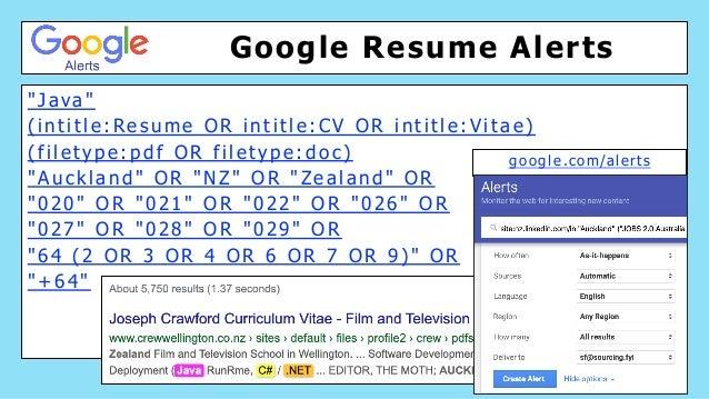 "Google Resume Alerts "" J a va "" ( i n t i t l e : Re s u m e O R i n t i t l e : C V O R i n t i t l e : V i t a e ) ( f i..."
