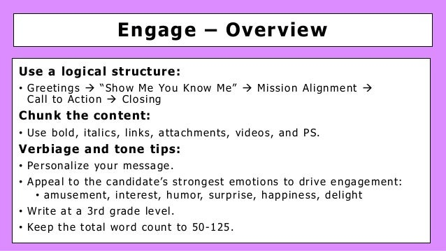 """Engage – Overview Use a logical structure: • Greetings à """"Show Me You Know Me"""" à Mission Alignment à Call to Action à Clos..."""
