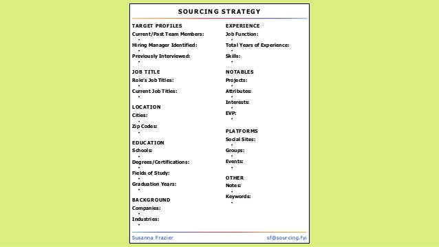 SOURCING STRATEGY Susanna Frazier sf@sourcing.fyi TARGET PROFILES Current/Past Team Members: Hiring Manager Identified: Pr...
