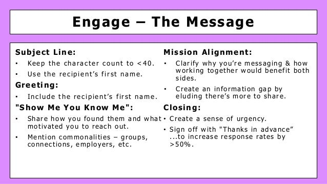 Engage – The Message Subject Line: • Keep the character count to <40. • Use the recipient's first name. Greeting: • Includ...