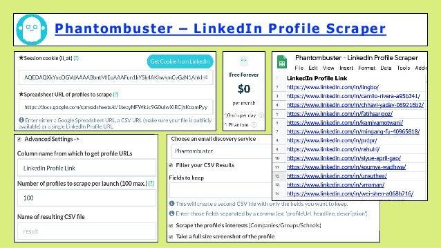 Phantombuster – LinkedIn Profile Scraper
