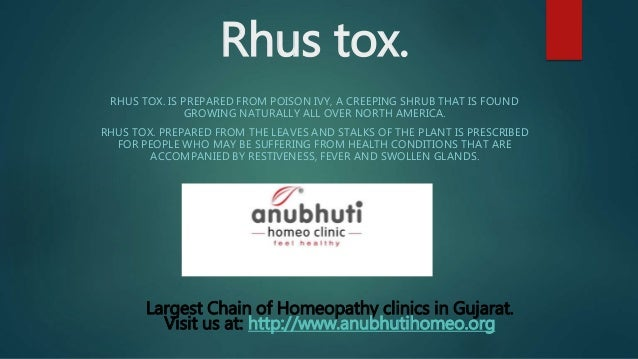 Rhus tox  homeopathy remedy used to treat skin problems especially th…