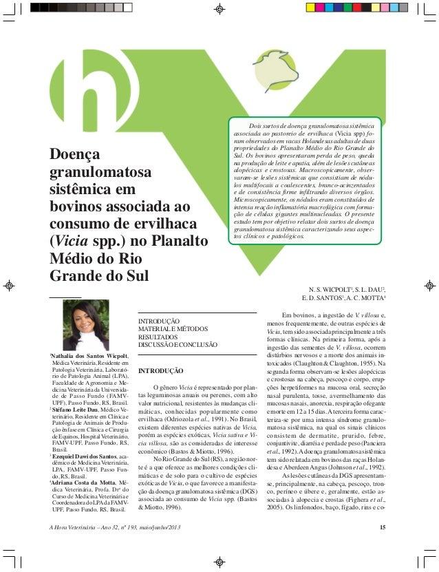15A Hora Veterinária – Ano 32, nº 193, maio/junho/2013 Doença granulomatosa sistêmica em bovinos associada ao consumo de e...