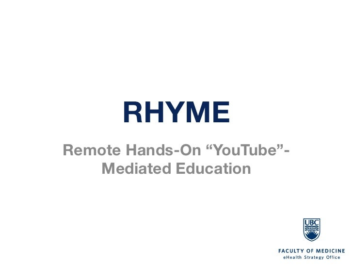 "RHYMERemote Hands-On ""YouTube""-   Mediated Education"