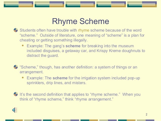 Rhyme schemes and patterns in poetry, basic poetic techniques.