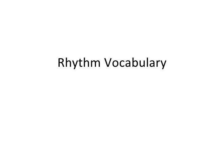 Rhythm Vocabulary