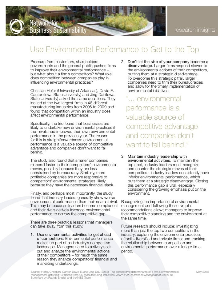 research insightsUse Environmental Performance to Get to the TopPressure from customers, shareholders,                    ...