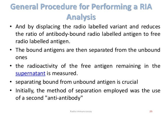 General Procedure for Performing a RIA Analysis • And by displacing the radio labelled variant and reduces the ratio of an...