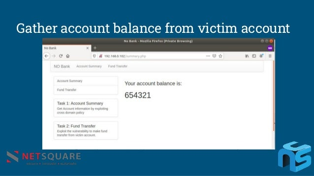 Gather account balance from victim account