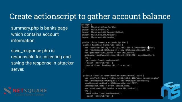 Create actionscript to gather account balance summary.php is banks page which contains account information. save_response....