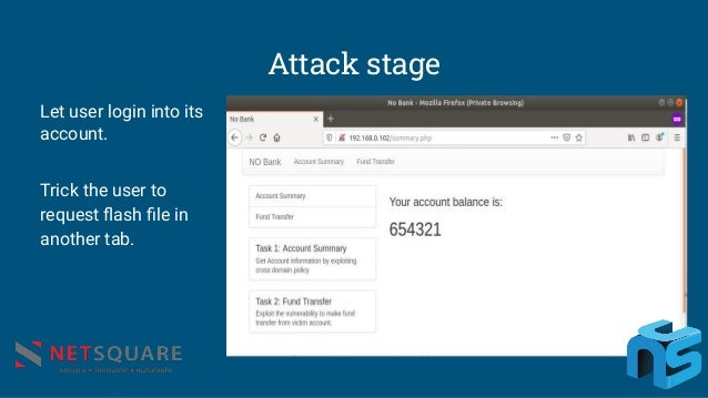 Attack stage Let user login into its account. Trick the user to request flash file in another tab.