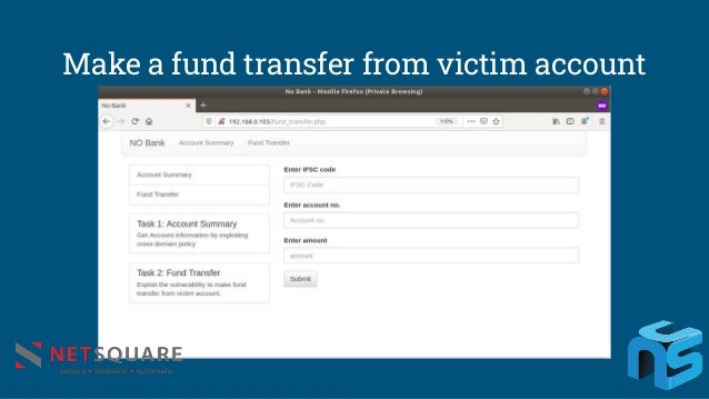 Make a fund transfer from victim account