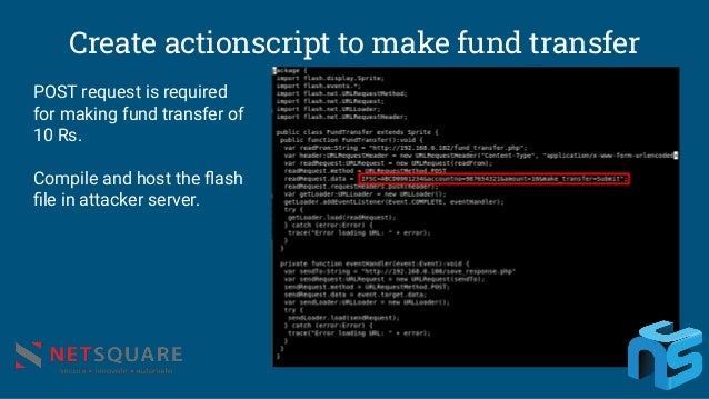 Create actionscript to make fund transfer POST request is required for making fund transfer of 10 Rs. Compile and host the...