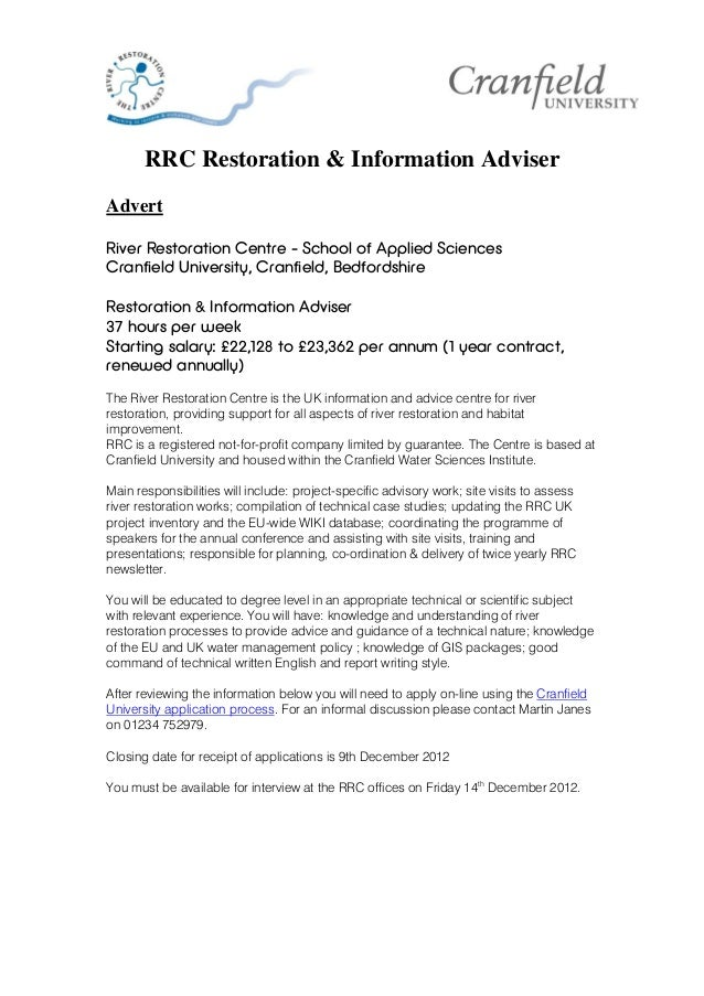 RRC Restoration & Information AdviserAdvertRiver Restoration Centre - School of Applied SciencesCranfield University, Cran...