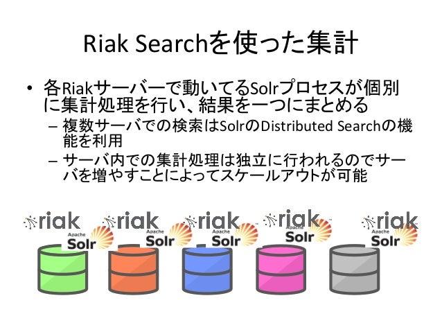 Riak  Searchを使った集計 • 各Riakサーバーで動いてるSolrプロセスが個別 に集計処理を行い、結果を一つにまとめる   – 複数サーバでの検索はSolrのDistributed  Searchの機 能を利用...