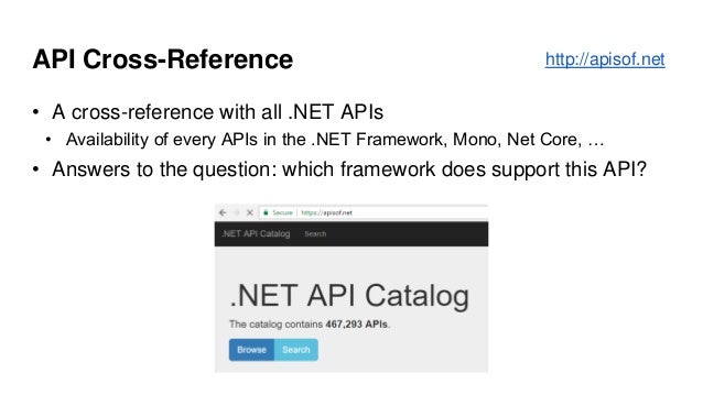 API Cross-Reference • A cross-reference with all .NET APIs • Availability of every APIs in the .NET Framework, Mono, Net C...