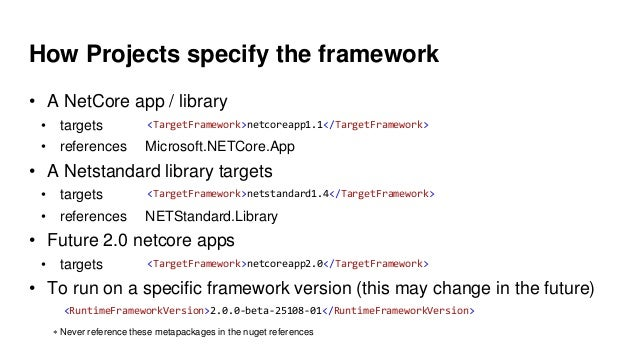 How Projects specify the framework • A NetCore app / library • targets • references Microsoft.NETCore.App • A Netstandard ...