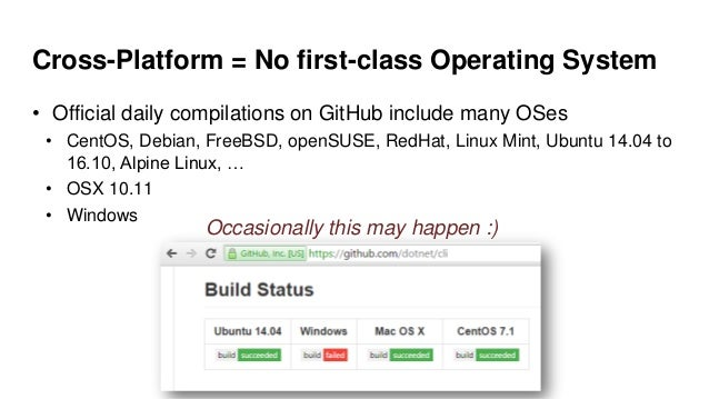 Cross-Platform = No first-class Operating System • Official daily compilations on GitHub include many OSes • CentOS, Debia...