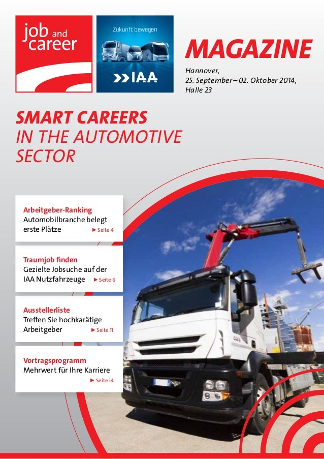 SMART CAREERS  in The automotive  sector  Hannover,  25. September – 02. Oktober 2014,  Halle 23  Zukunft bewegen  Magazin...