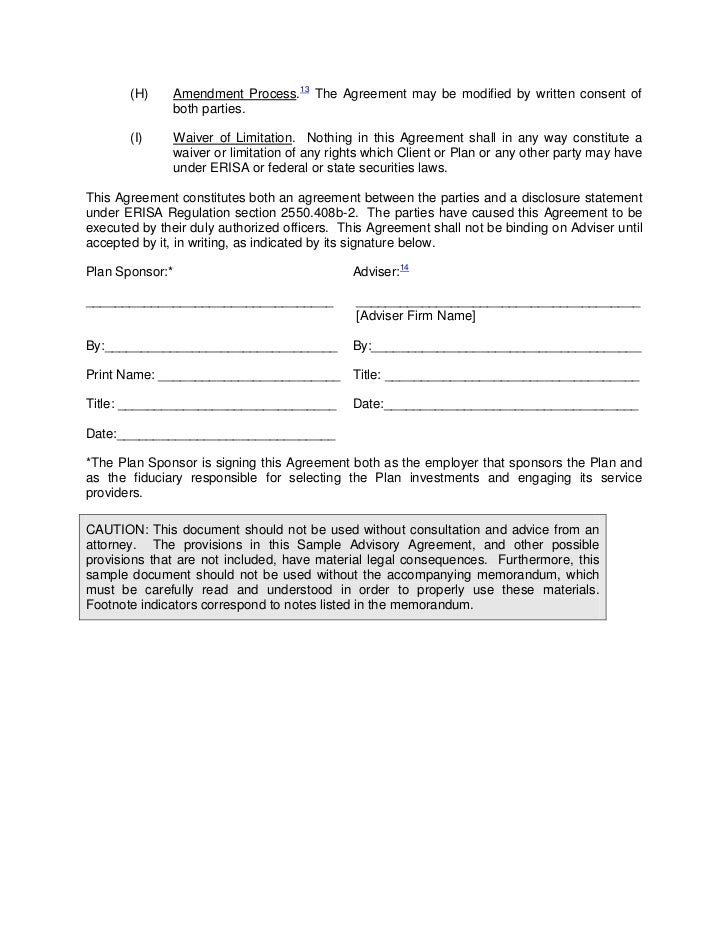 Ria Service Agreement Template 408(B)(2)