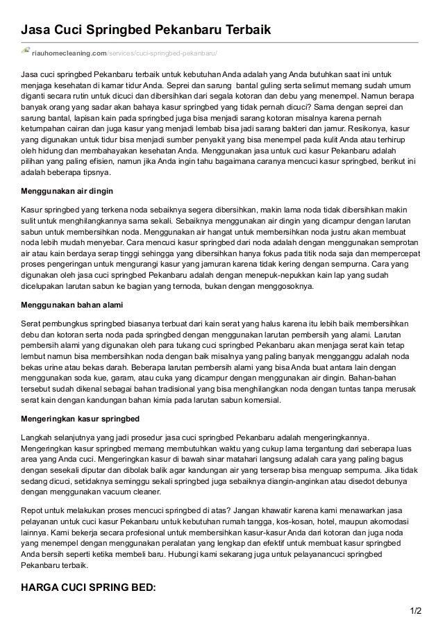 Jasa Cuci Springbed Pekanbaru Terbaik riauhomecleaning.com/services/cuci-springbed-pekanbaru/ Jasa cuci springbed Pekanbar...