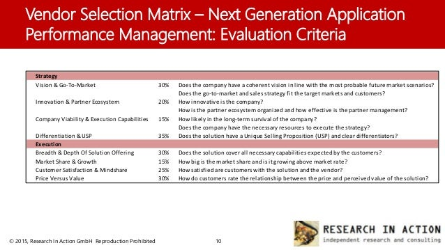 Technology Management Image: Research In Action: Vendor Selection Matrix -- Next