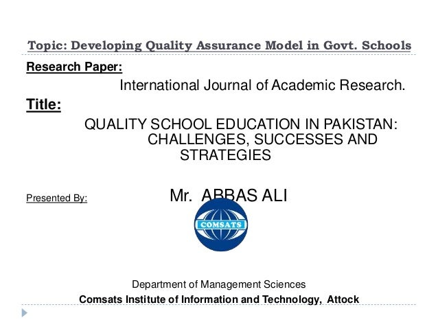 A critical analysis of education systems in pakistan