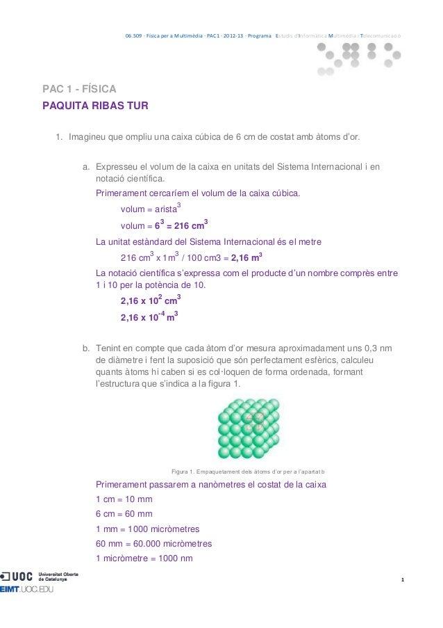 06.509 · Física per a Multimèdia · PAC1 · 2012-13 · Programa · Estudis d'Informàtica Multimèdia i TelecomunicacióPAC 1 - F...