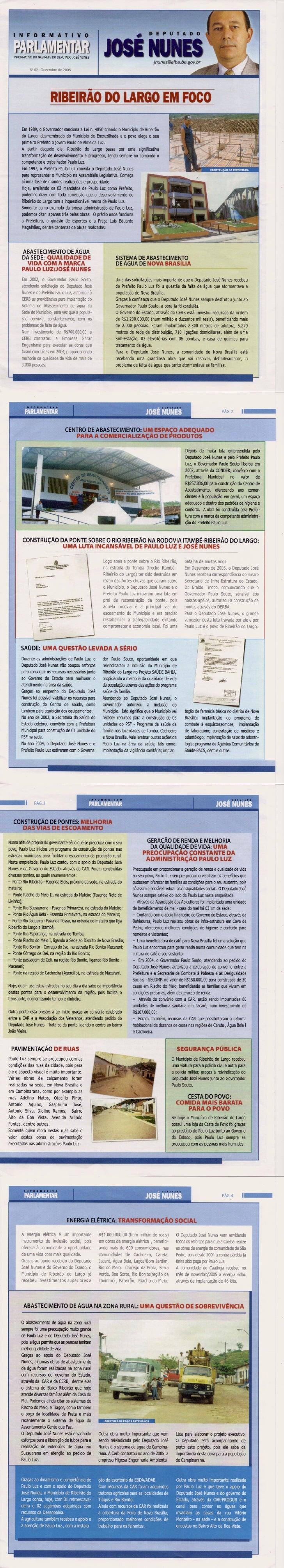 Boletim Informativo das obras do município de Ribeirão do Largo