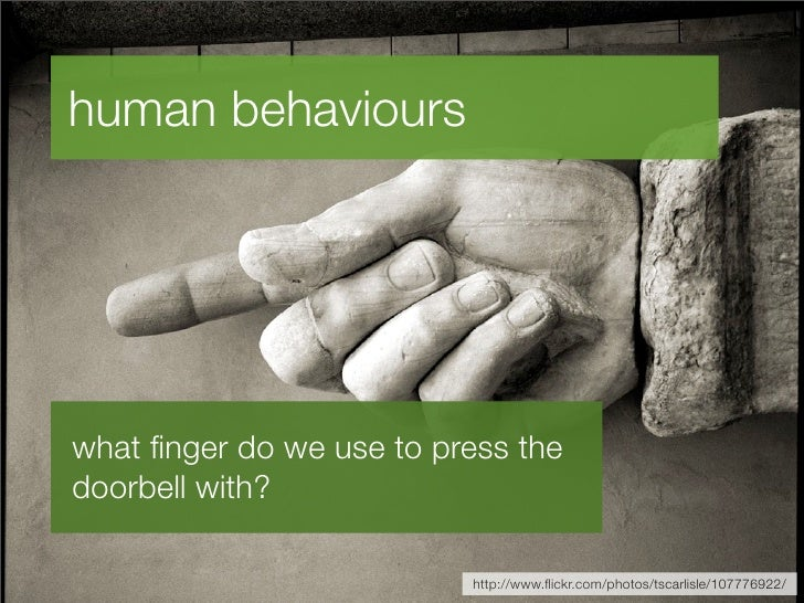 human behaviours     what finger do we use to press the doorbell with?                            http://www.flickr.com/phot...