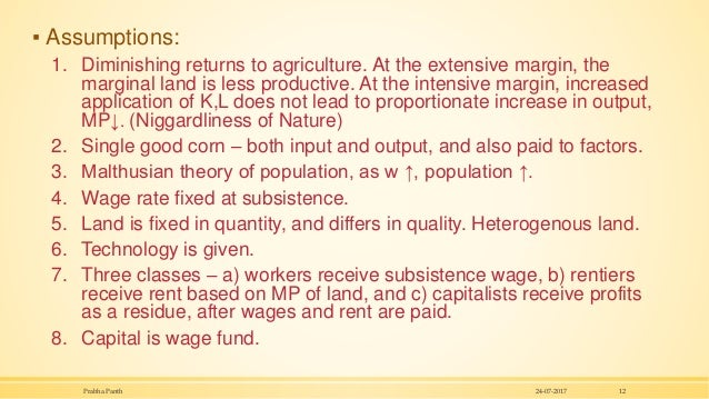 ▪ Assumptions: 1. Diminishing returns to agriculture. At the extensive margin, the marginal land is less productive. At th...