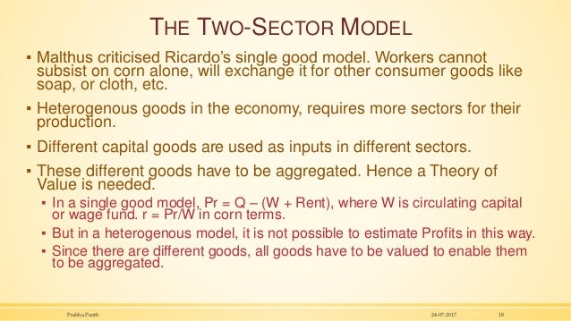 THE TWO-SECTOR MODEL ▪ Malthus criticised Ricardo's single good model. Workers cannot subsist on corn alone, will exchange...