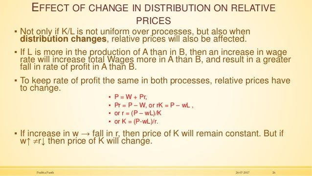 EFFECT OF CHANGE IN DISTRIBUTION ON RELATIVE PRICES ▪ Not only if K/L is not uniform over processes, but also when distrib...