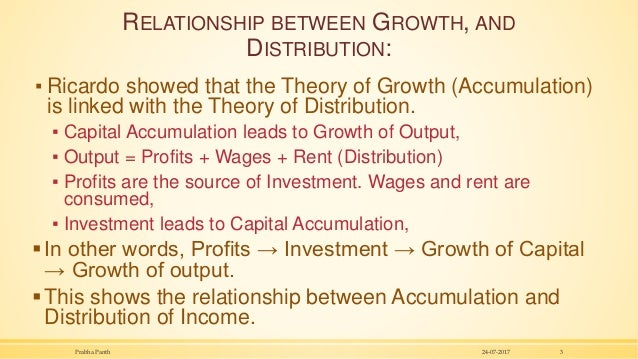 RELATIONSHIP BETWEEN GROWTH, AND DISTRIBUTION: ▪ Ricardo showed that the Theory of Growth (Accumulation) is linked with th...