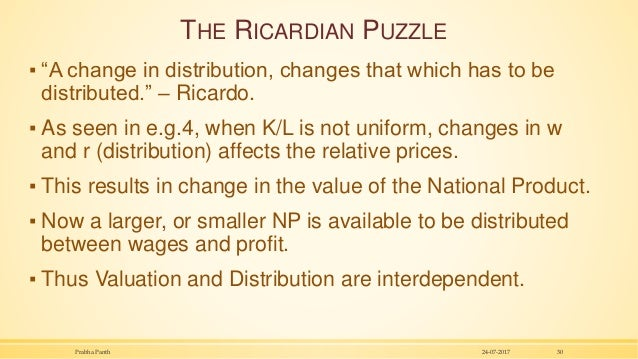 """THE RICARDIAN PUZZLE ▪ """"A change in distribution, changes that which has to be distributed."""" – Ricardo. ▪ As seen in e.g.4..."""