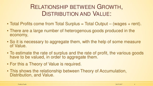 RELATIONSHIP BETWEEN GROWTH, DISTRIBUTION AND VALUE: ▪ Total Profits come from Total Surplus = Total Output – (wages + ren...