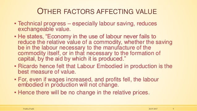 """OTHER FACTORS AFFECTING VALUE ▪ Technical progress – especially labour saving, reduces exchangeable value. ▪ He states, """"E..."""