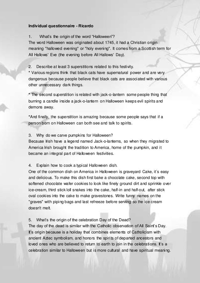 "Individual questionnaire - Ricardo 1. What's the origin of the word ""Halloween""? The word Halloween was originated about 1..."