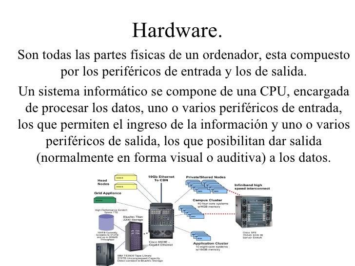 Hardware. Son todas las partes físicas de un ordenador, esta compuesto por los periféricos de entrada y los de salida. Un ...