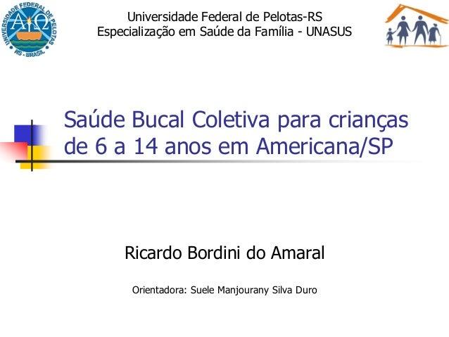 Saúde Bucal Coletiva para criançasde 6 a 14 anos em Americana/SPRicardo Bordini do AmaralOrientadora: Suele Manjourany Sil...
