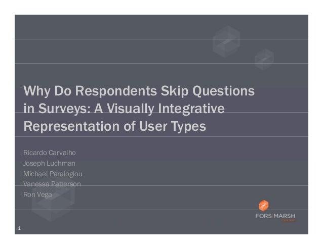 Why Do Respondents Skip Questions    in Surveys: A Visually Integrative    Representation of User Types    Ricardo Carvalh...