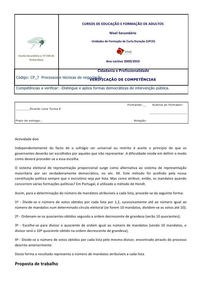 CURSOS DE EDUCAÇÃO E FORMAÇÃO DE ADULTOS                                                             Nível Secundário     ...