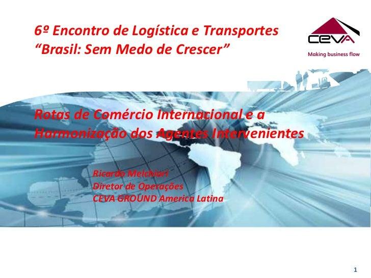 """6º Encontro de Logística e Transportes""""Brasil: Sem Medo de Crescer""""Rotas de Comércio Internacional e aHarmonização dos Age..."""