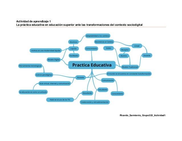 Actividad de aprendizaje 1 La práctica educativa en educación superior ante las transformaciones del contexto sociodigital...